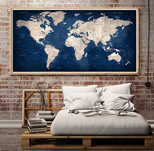 Amazon navy blue large world map poster print for home navy blue large world map poster print for home decoration and living room decor unframed gumiabroncs Gallery