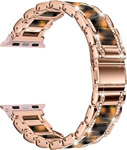 Moolia Metal Strap Band Compatible with Apple Watch Band 38mm 40mm Womens Men Rhinestones Resin Metal Wristband Bracelet Replacement for iWatch Series 6 5 4 3 2 1 Rose Gold + Tortoise