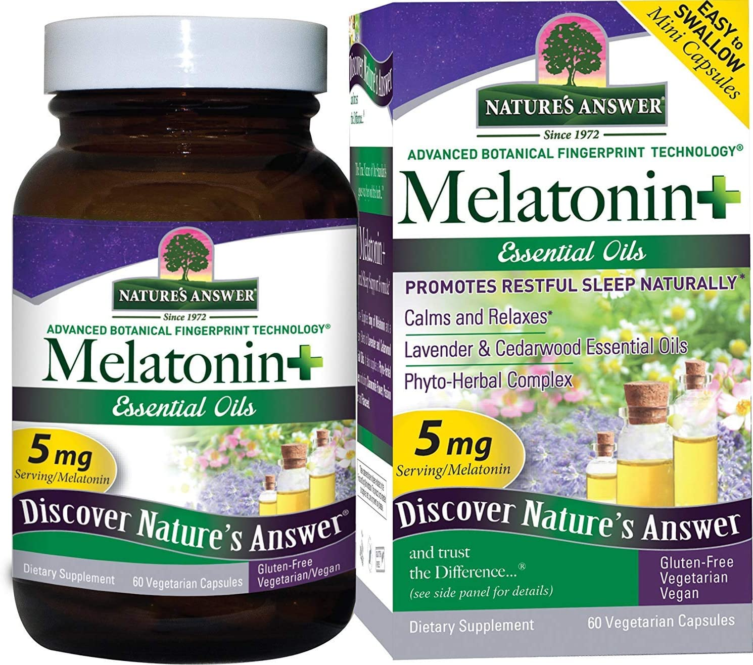 Nature's Answer Melatonin+, 60 Count Capsules Promotes Restful Sleep | Melatonin plus Essential oils Lavender Calms and Relaxes