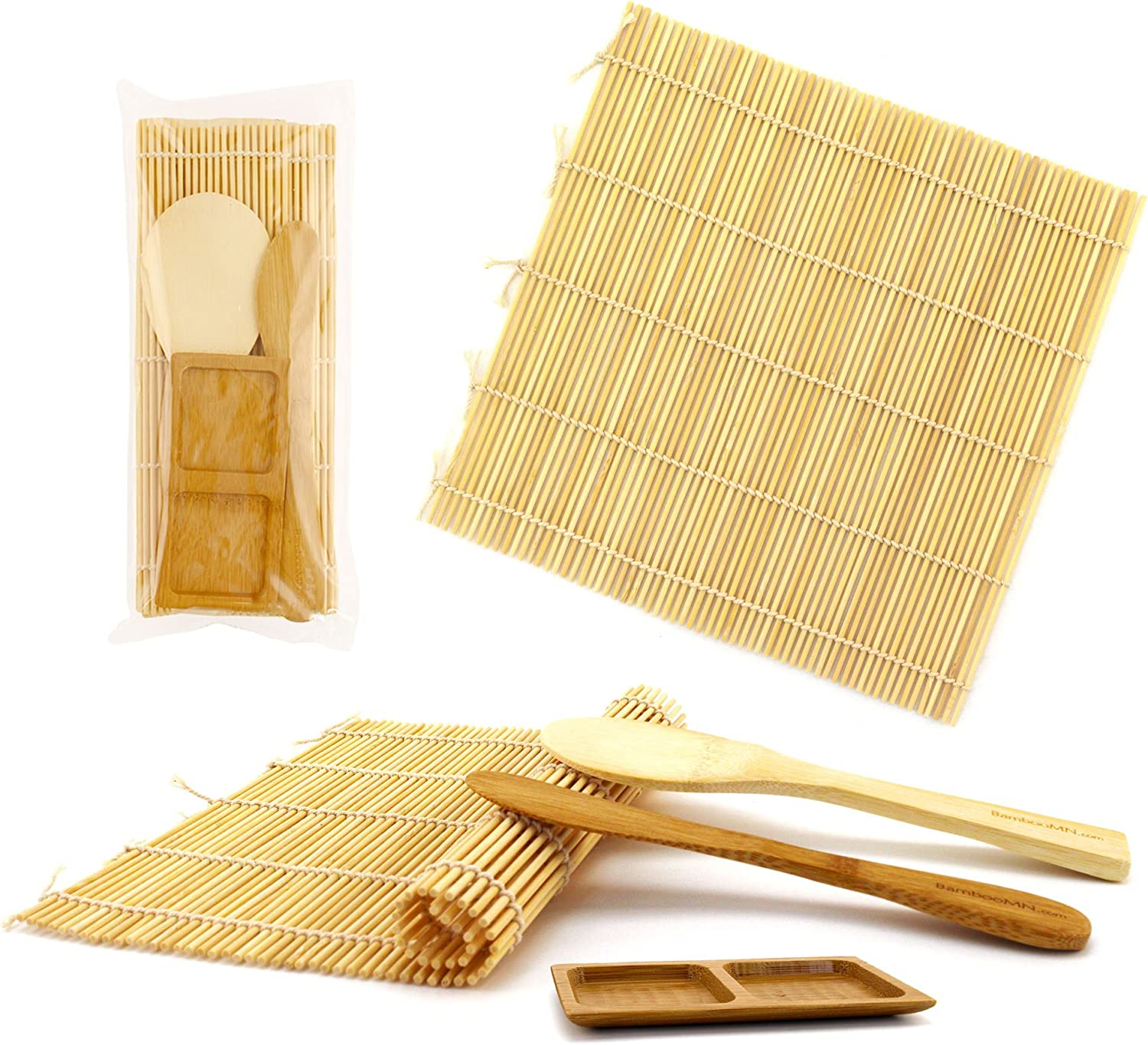 BambooMN Deluxe Sushi Making Kit 2x Natural Rolling Mats, 1x Rice Paddle, 1x Spreader, 1x Sauce Dish | 100% Bamboo Mats and Utensils