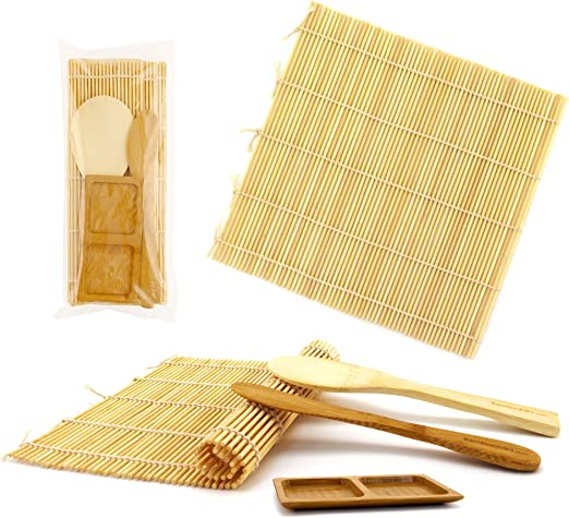 Amazon.com: BambooMN - Juego de rodillos para hacer sushi, 2 ...