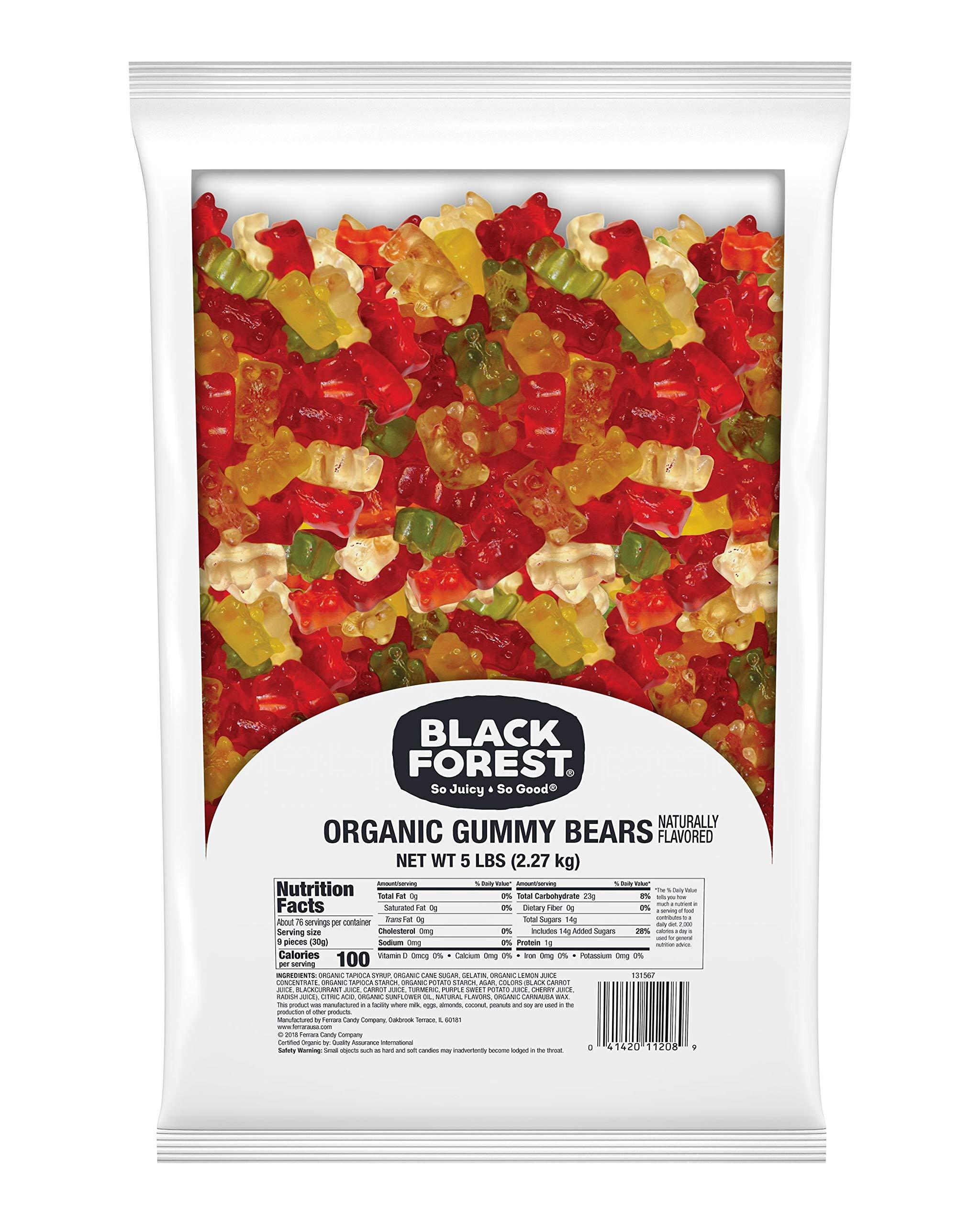 Black Forest Organic Gummy Bears Candy, 5 Pound Bulk Bag