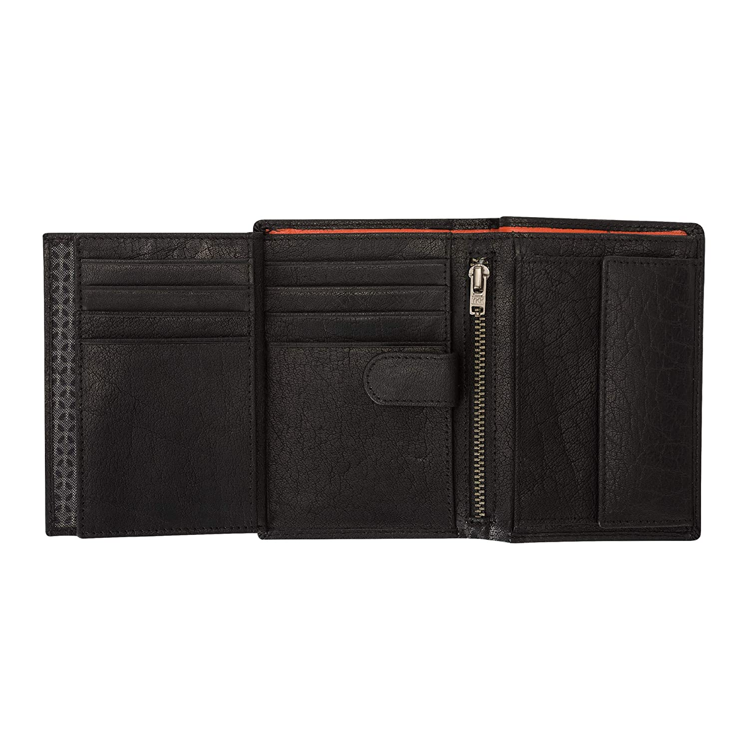 Nuvola Pelle Mens Bifold Vertical Wallet with Coin Pocket in Buffalo Leather 12 Card Slots and Inner Zip Holder Black