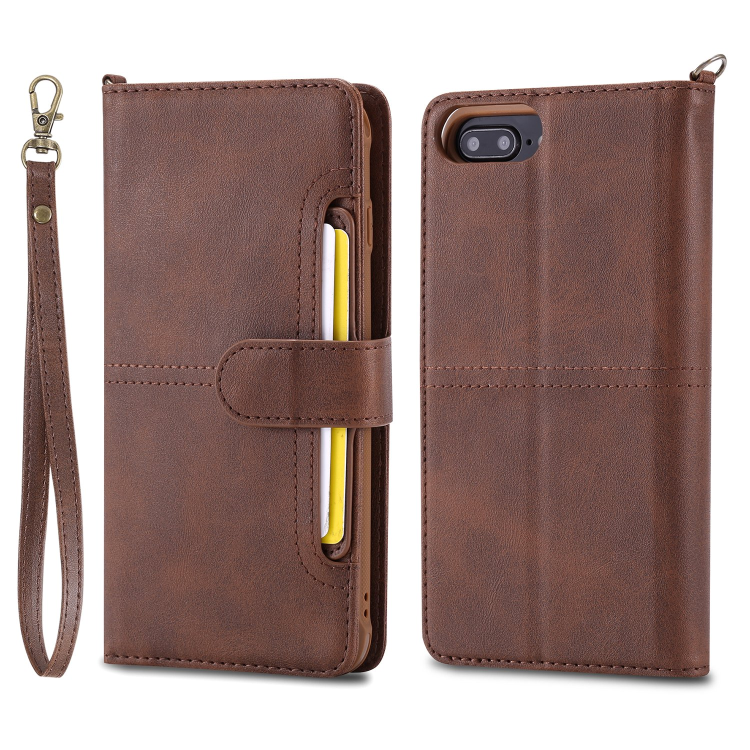 DAMONDY iPhone 8 Plus Case,iPhone 7 Plus, Detachable 2 in 1 Cover Stand Wallet Purse Card Slot ID Holders Design Flip Cover Pocket Purse Leather Magnetic Protective for iPhone 7 8 Plus-coffee