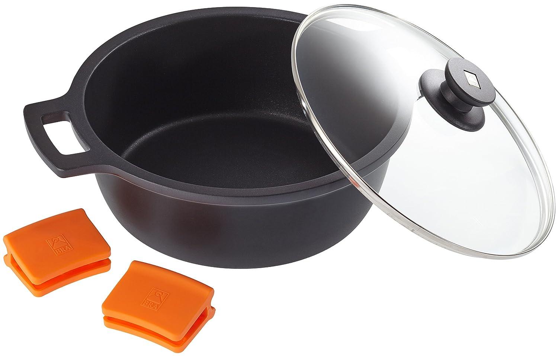BRA Efficient - Cacerola alta con tapa de cristal y asas de silicona extraíbles, 28 cm, apta para todo tipo de cocinas incluida inducción y ...