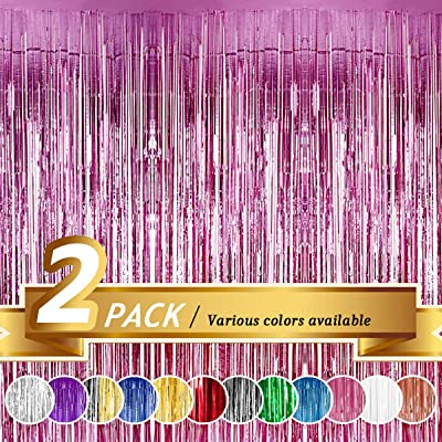 BTSD-home Pink Foil Fringe Curtain, Metallic Photo Booth Backdrop Tinsel Door Curtains for Wedding Birthday Bridal Shower Baby Shower Bachelorette Christmas Party Decorations(2 Pack, 6ft x 8ft): Toys & Games