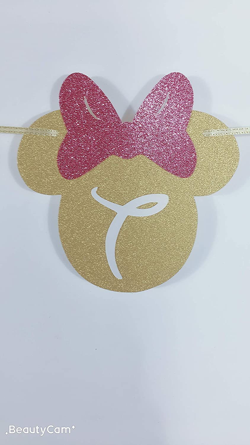E/&L Pink and Gold Glitter Minnie Happy Birthday Banner First Birthday Party Decorations E /& L Birthday Party Supplies First Birthday Happy Birthday Banner
