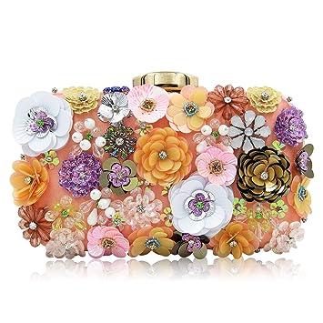 29570c85cddf4 Milisente Damen Clutch Pink Satin Blume Abendtasche Elegante Hochzeit Clutch  Tasche (Champagner)