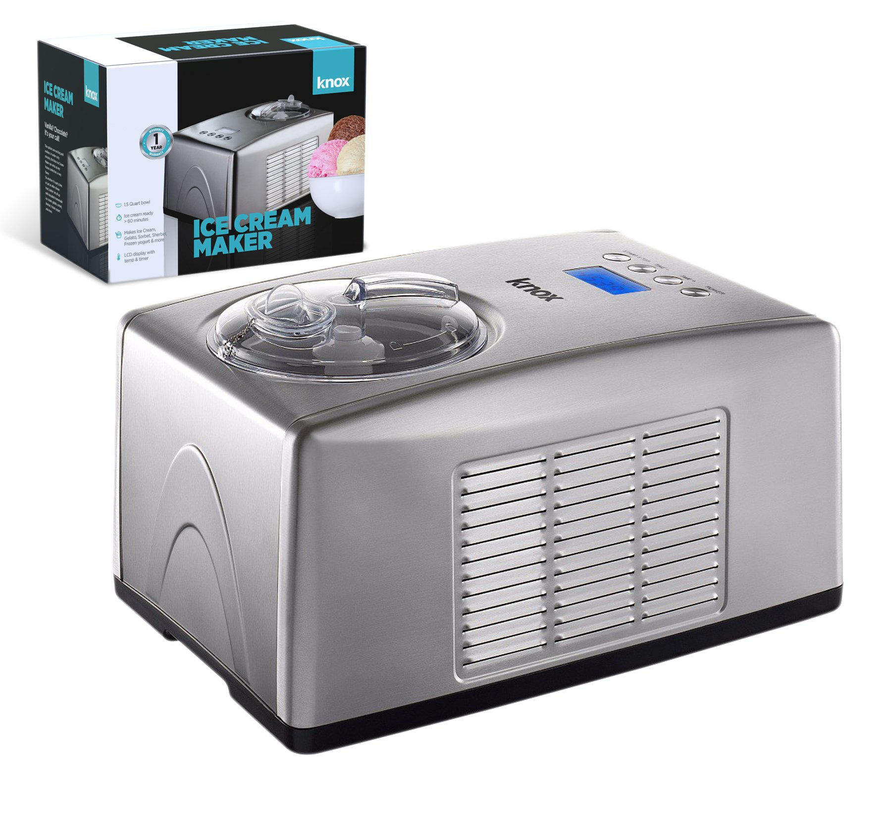 Knox Automatic Ice Cream Maker - Makes Sorbet, Gelato and Frozen Yogurt Without ''Freezer Bowl'' - Commercial Grade Compressor - 1.5 Quart Bowl