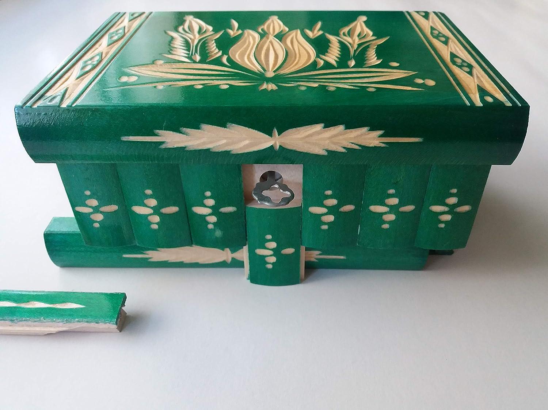Verde Hecho a mano Nueva Tallada Caja de Puzzle Rompecabezas de Madera Secreto Misterio m/ágica joyero de Almacenamiento tainer Escondido caj/ón tesorero