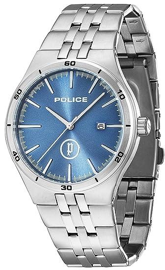 Police Reloj de Hombre Iron de Cuarzo con esfera azul, pantalla analógica y brazalete plateado de acero inoxidable 14440JS/03M: Amazon.es: Relojes
