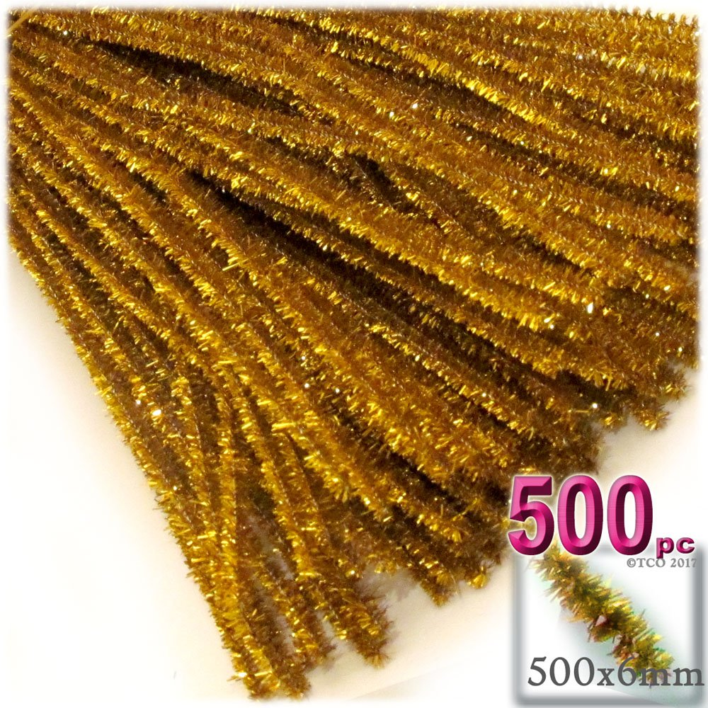 The Crafts Outlet Chenille Sparkly Stems, Pipe Cleaner, 20-in (50-cm), 500-pc, Gold