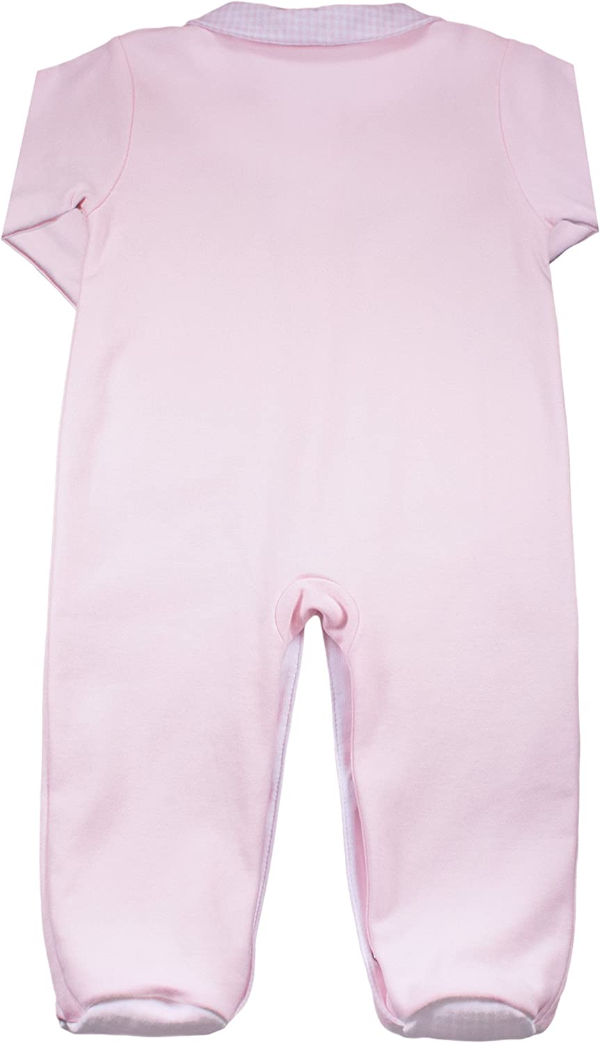 100/% Pima Cotton Dakomoda Baby Girls Pink Footie Long Sleeve Overall