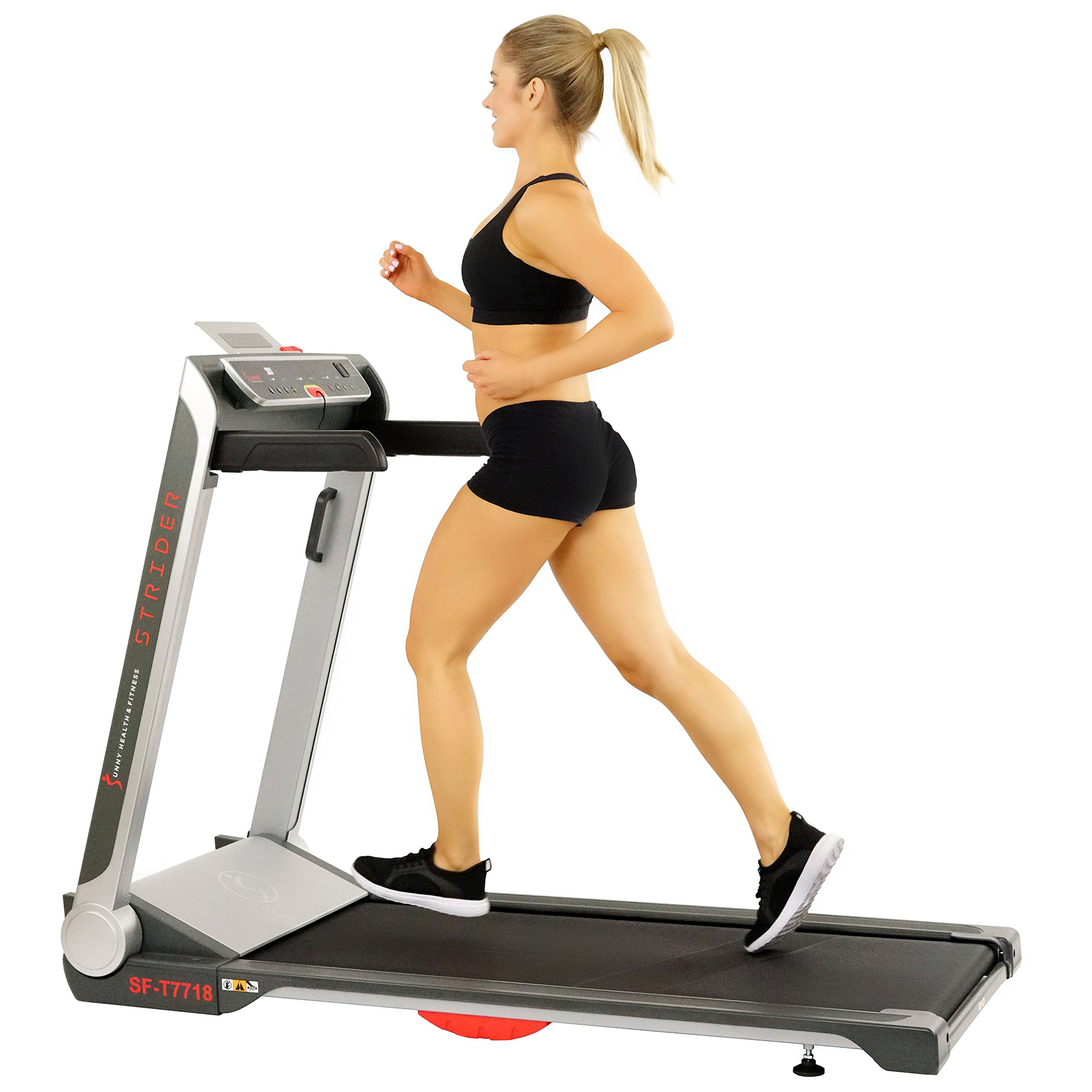 Sunny Health & Fitness No Assembly Motorized Folding Running Treadmill, 20'' Wide Belt, Flat Folding & Low Profile for Portability with Speakers for USB and AUX Audio Connection - Strider, SF-T7718