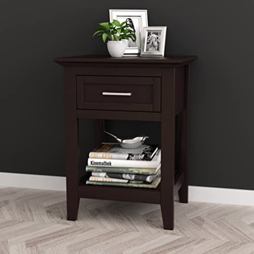Espresso Finish Modern Nightstand Side End Table