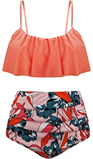 91445fce1985e Aixy Women Vintage Flounce Two Piece Swimsuits High Waisted Bathing Suits
