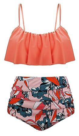 fdd4a7c95beb59 Angerella Women Cute Ruffle Bathing Suit Crop Top Flounce Bikini Set Dark  Orange Dark Orange UK8