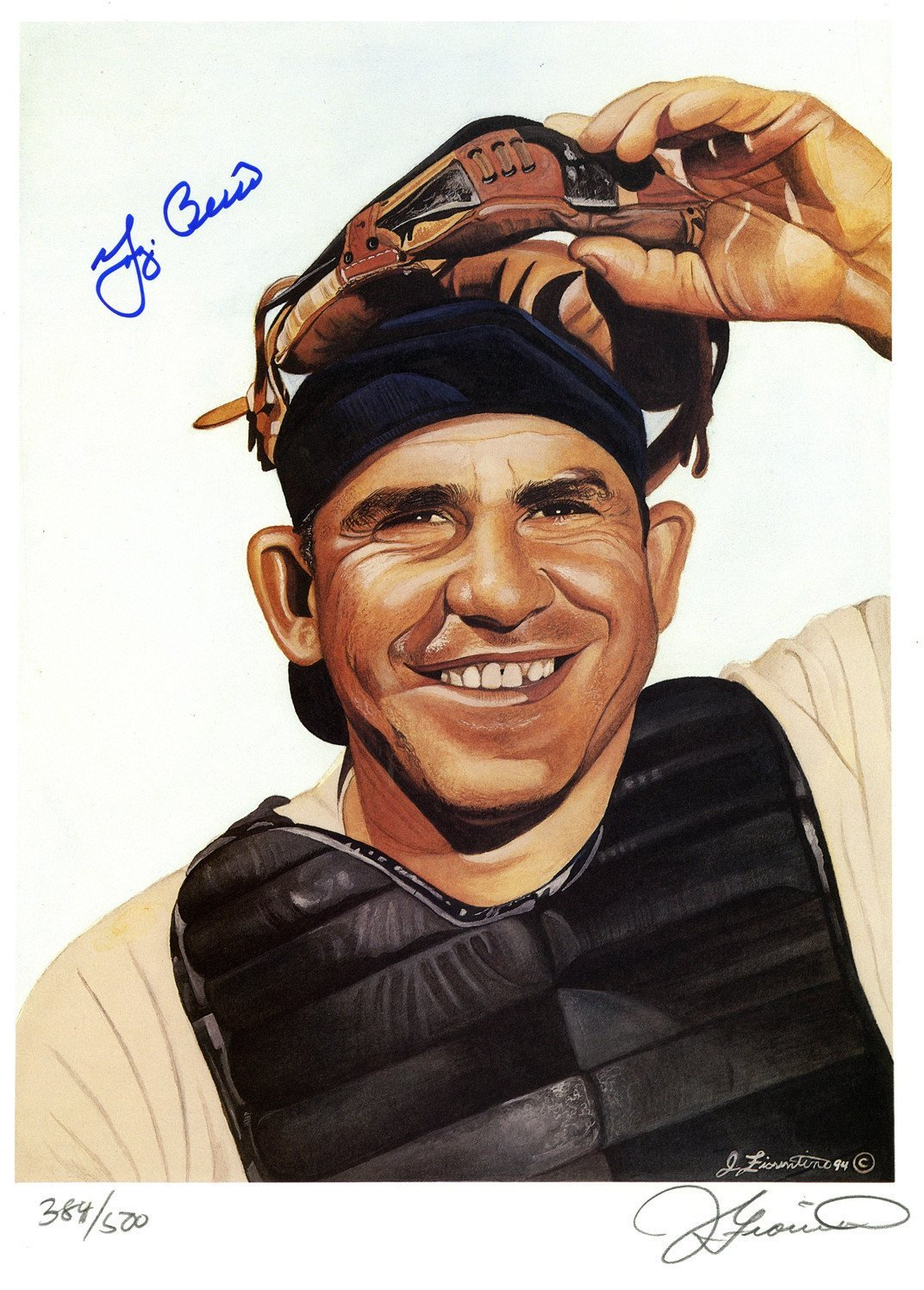Yogi Berra Signed James Fiorentino Color 13x17 Lithograph
