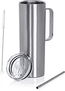 Maxam Double Wall Vacuum Insulated Skinny Tumbler with Handle - Tall & Slim Stainless Steel Drink Canister for Water, Coffee, Soda, Tea - Portable Hot & Cold Beverage Mug with Straw & Clear Lid - 20oz