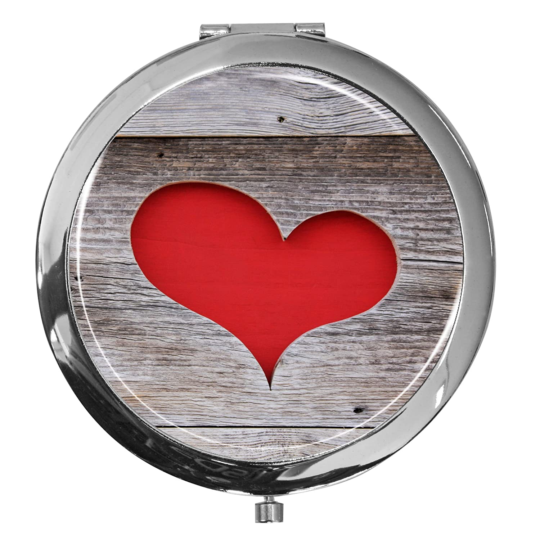 metALUm Premium - miroir de poche en métal chromé avec un motif de coeur chic et une couche de résine synthétique noble et brillant - un accessoire idéal pour toute femme ou un cadeau extraordinaire pour les amoureux