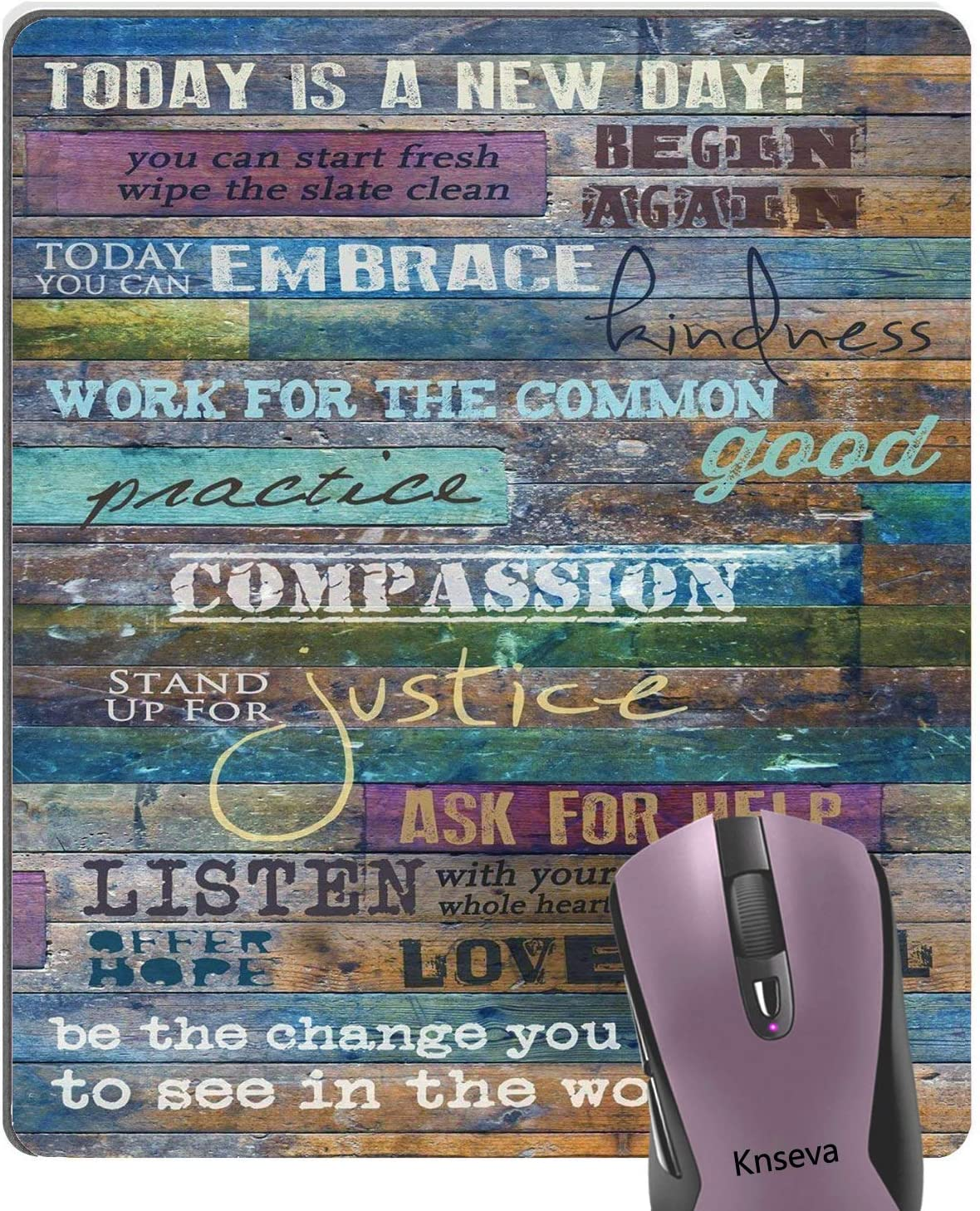 Knseva Inspirational Quotes Vintage Rustic Barn Wood Art Mouse Pad Today is a New Day Motivational Quote Mouse Pads