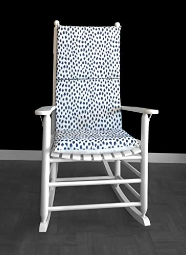 Rocking Chair Cushion   Navy Blue Ikat Polka Dot