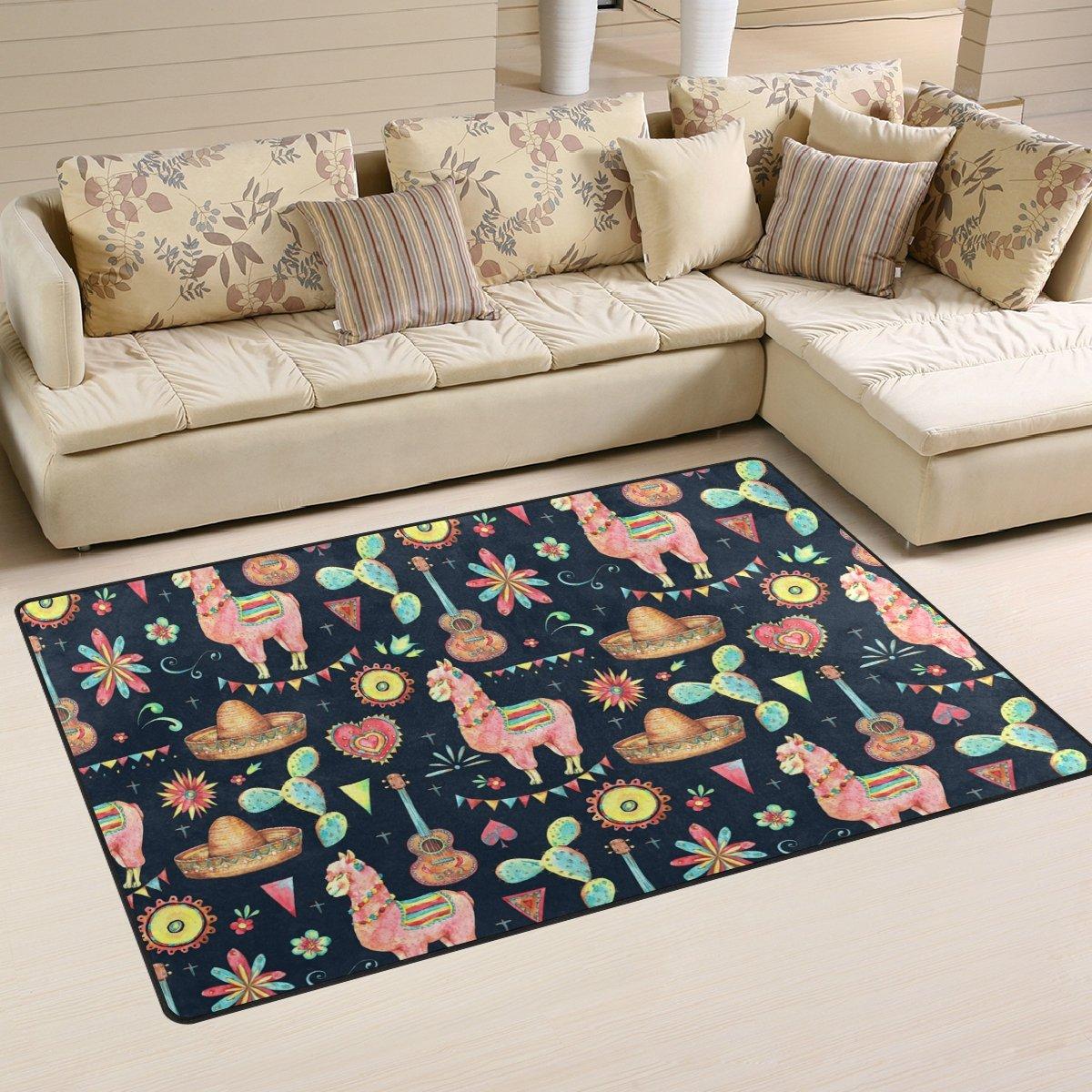 WellLee Area Rug,Mexican Watercolor Cactus Little Alpaca Floor Rug Non-Slip Doormat for Living Dining Dorm Room Bedroom Decor 60x39 inch by WellLee