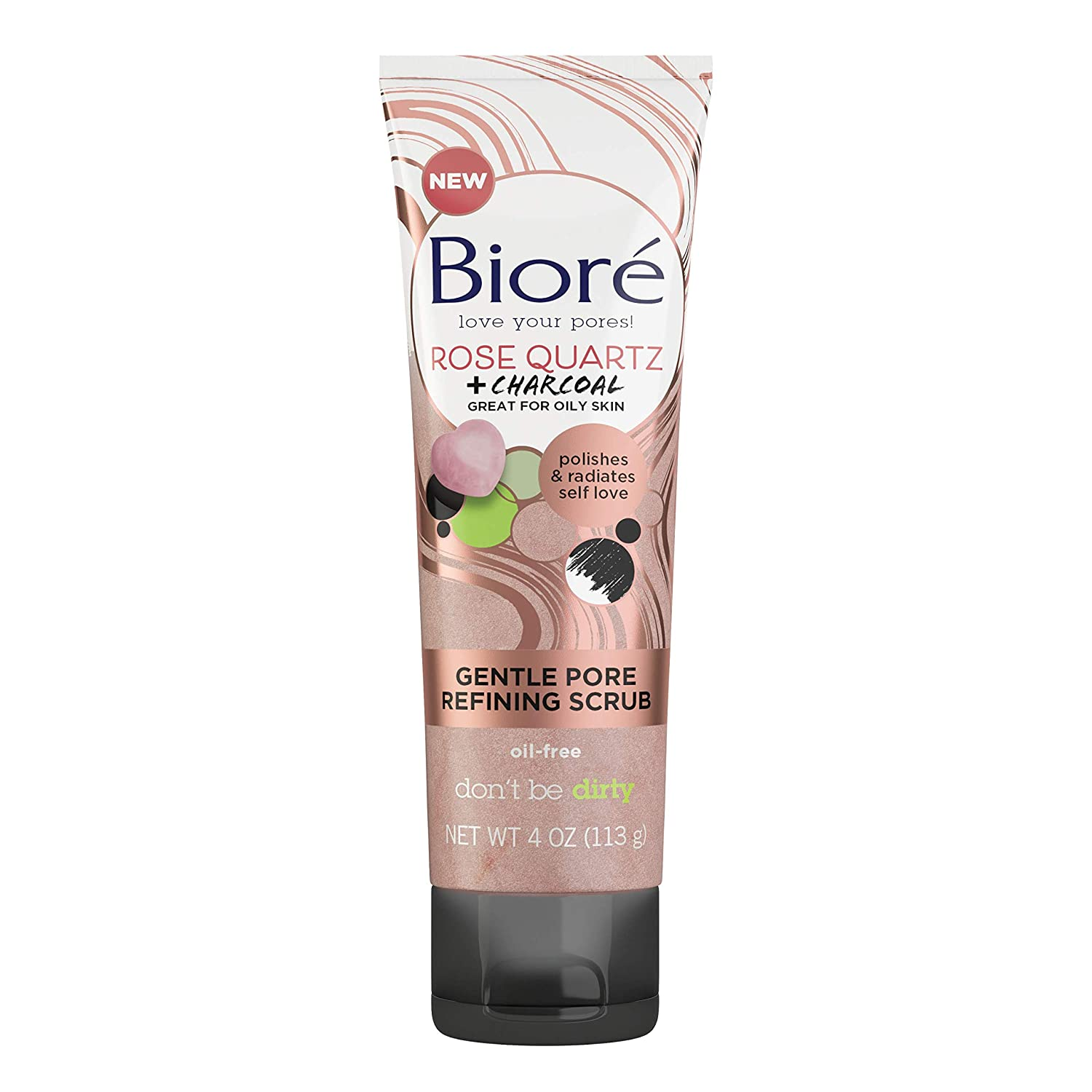 Bioré Rose Quartz With Charcoal Gentle Pore Refining scrub, exfoliating & Pore Minimizing Micro Crystal Facial Scrub, Oil Free, Dermatologist Tested, Cruelty Free, Vegan Friendly, Paraben Free