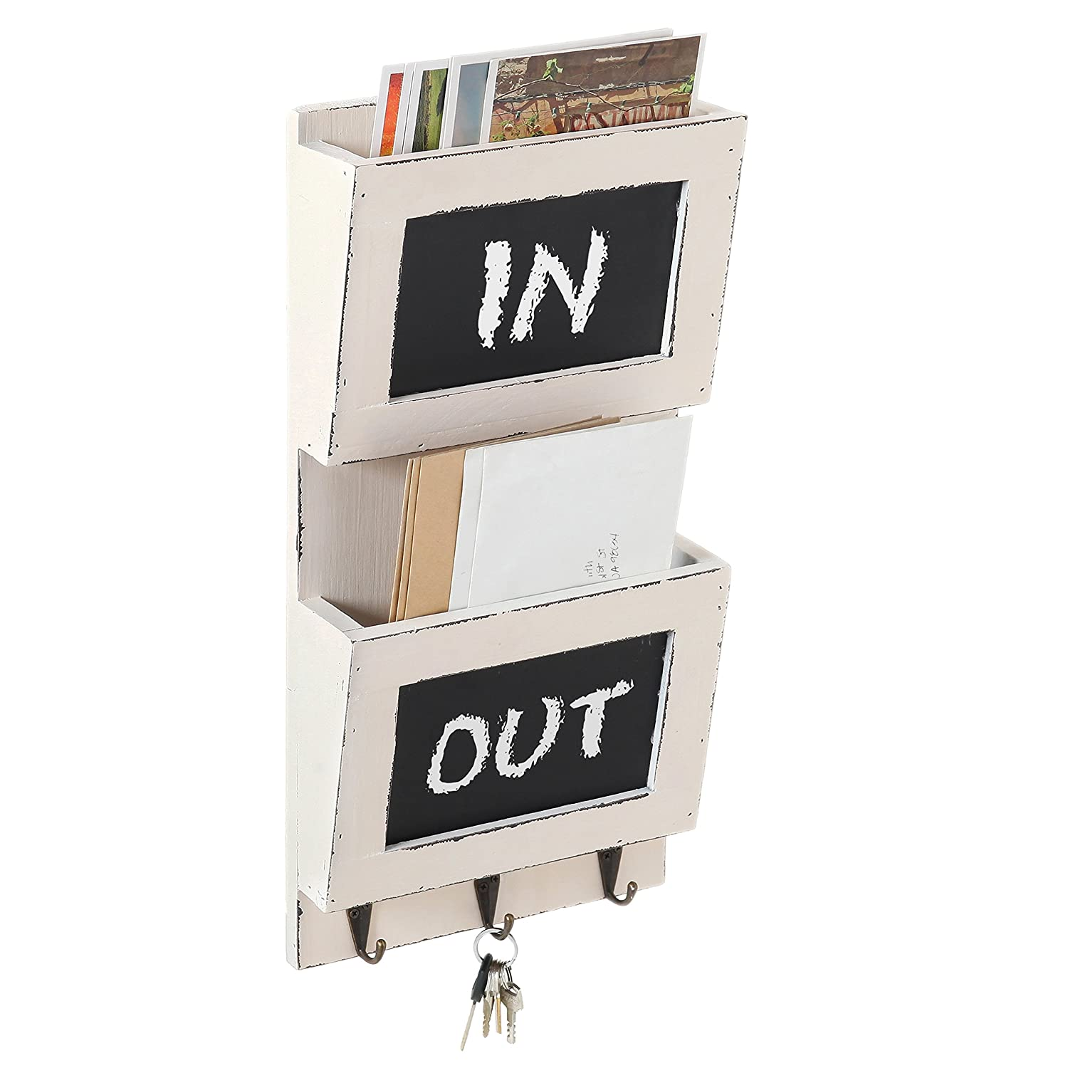 MyGift Vintage White Wall-Mounted 2-Tier Mail Sorter with Chalkboard and 3 Key Hooks