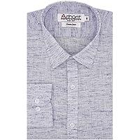 Arihant Men's Plain Cotton Linen Full Sleeves Regular Fit Formal Shirt