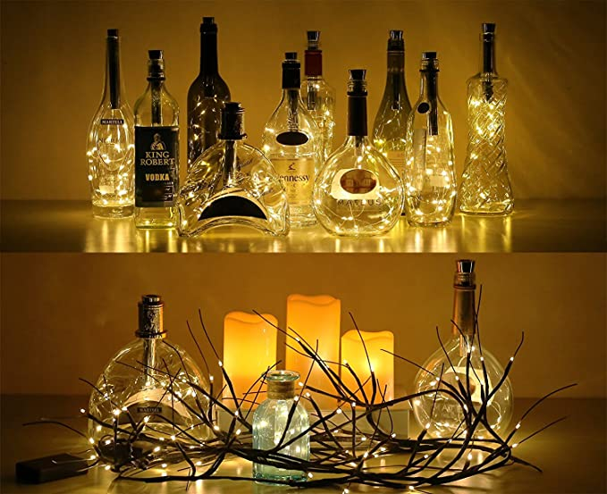 Botella de luz, ALED LIGHT 12 Pack Botellas de Vino Luces 20 LED Luz de Bricolaje Corcho Micro Luces LED para Botella de Vino para Boda, Fiesta, ...