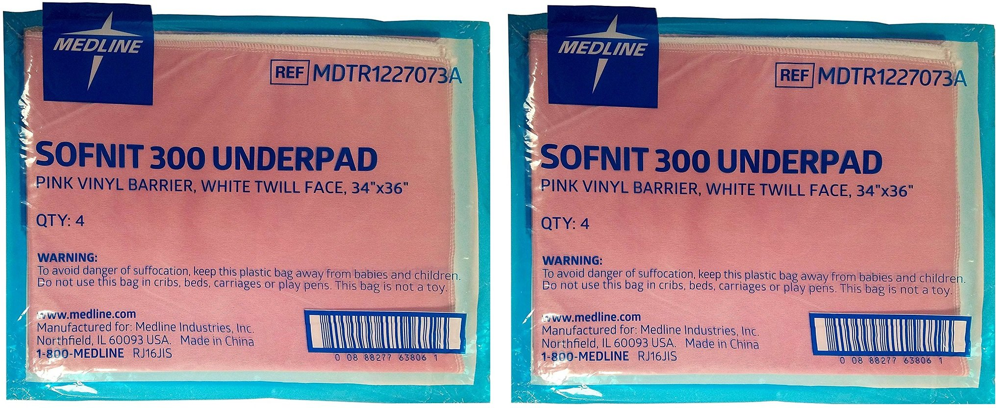Medline Sofnit 300 LDtalV, Pack of 8 Large Washable Pink Underpads, 34 inx36 in for use with incontinence, reusable pet pads, reusable bed pads, great for dogs, cats, and bunny