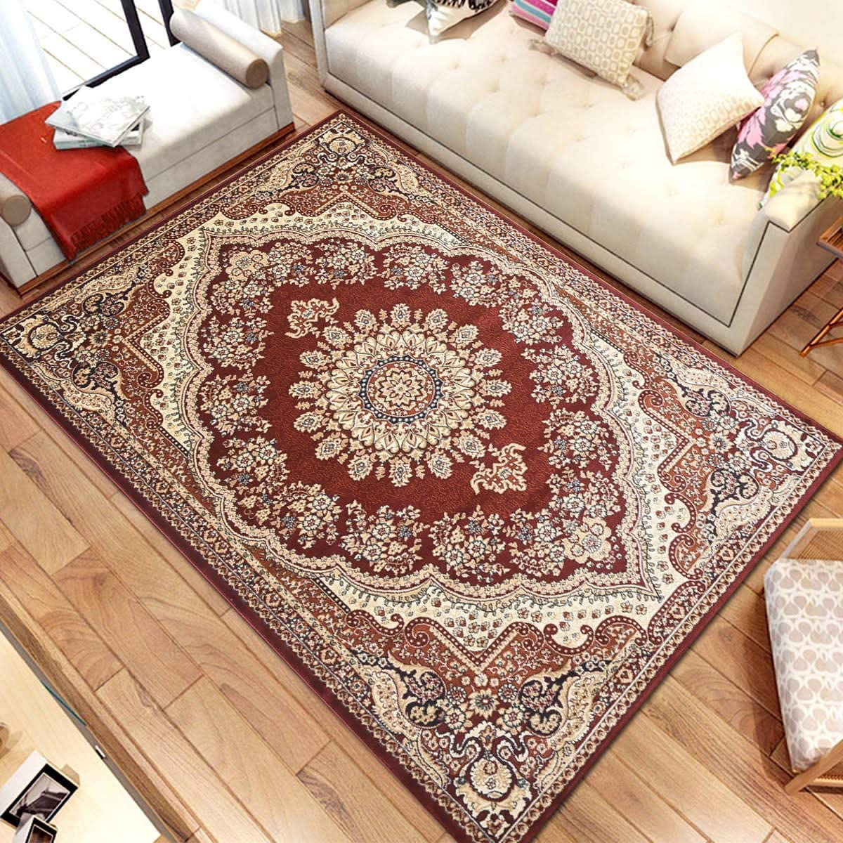 Msrugs Traditional Oriental Medallion Red Beige Area Rug Persian Style Rug