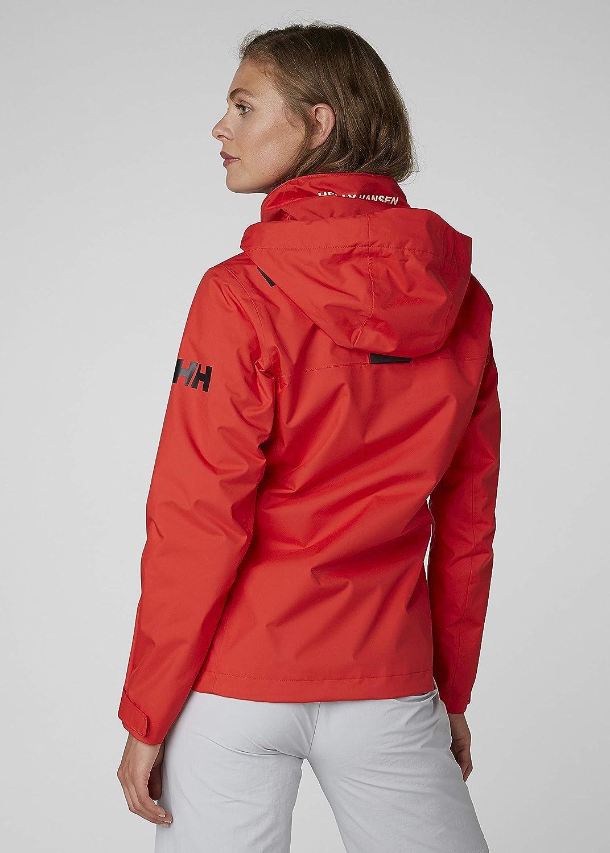 Helly Hansen Womens Crew Midlayer Fleece Lined Waterproof Windproof Breathable Sailing Rain Coat Jacket with Stowable Hood