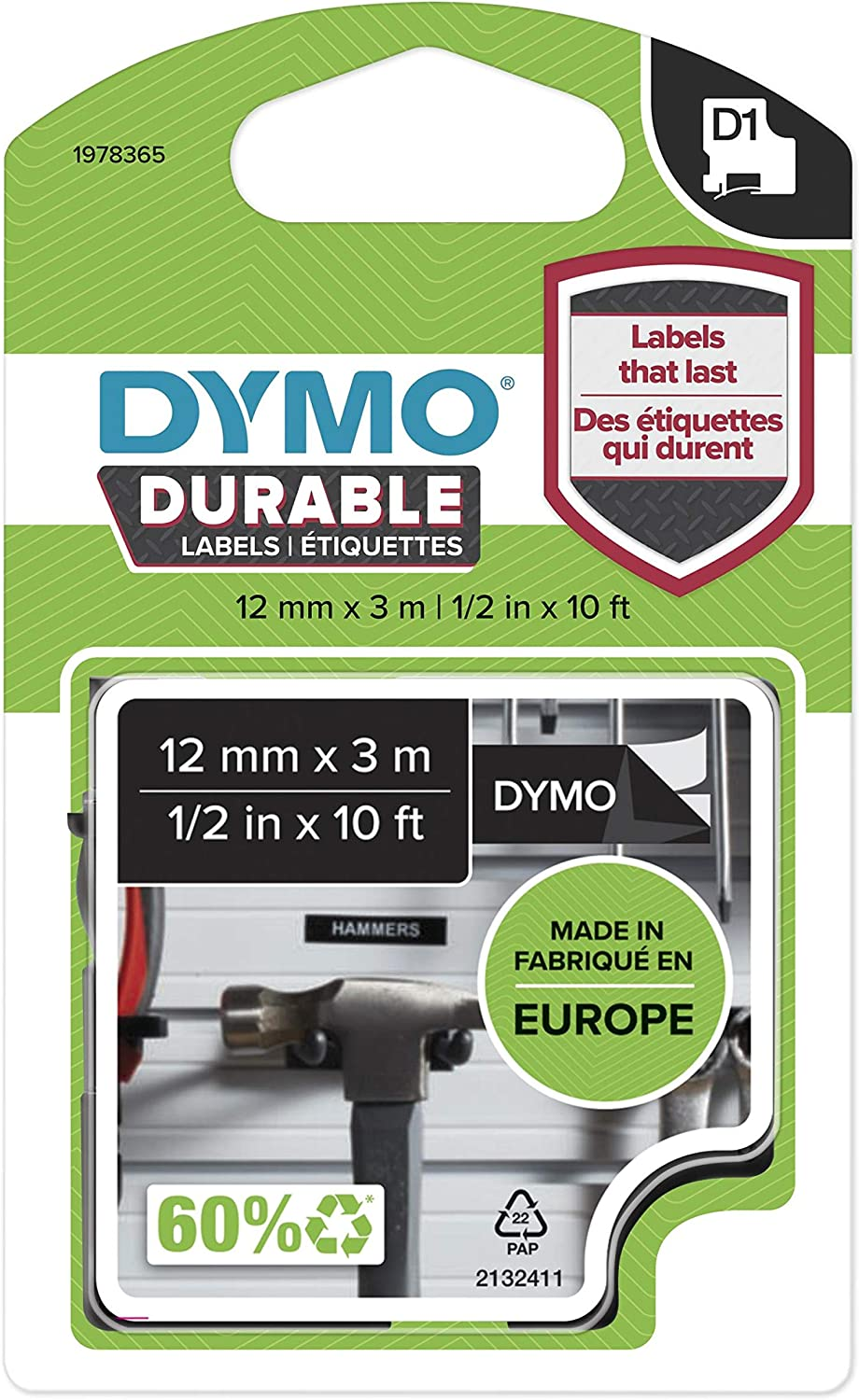 6x Compatible Dymo D1 Standard Self-Adhesive 12 mm x 7 m Labels Tape Black on Wh