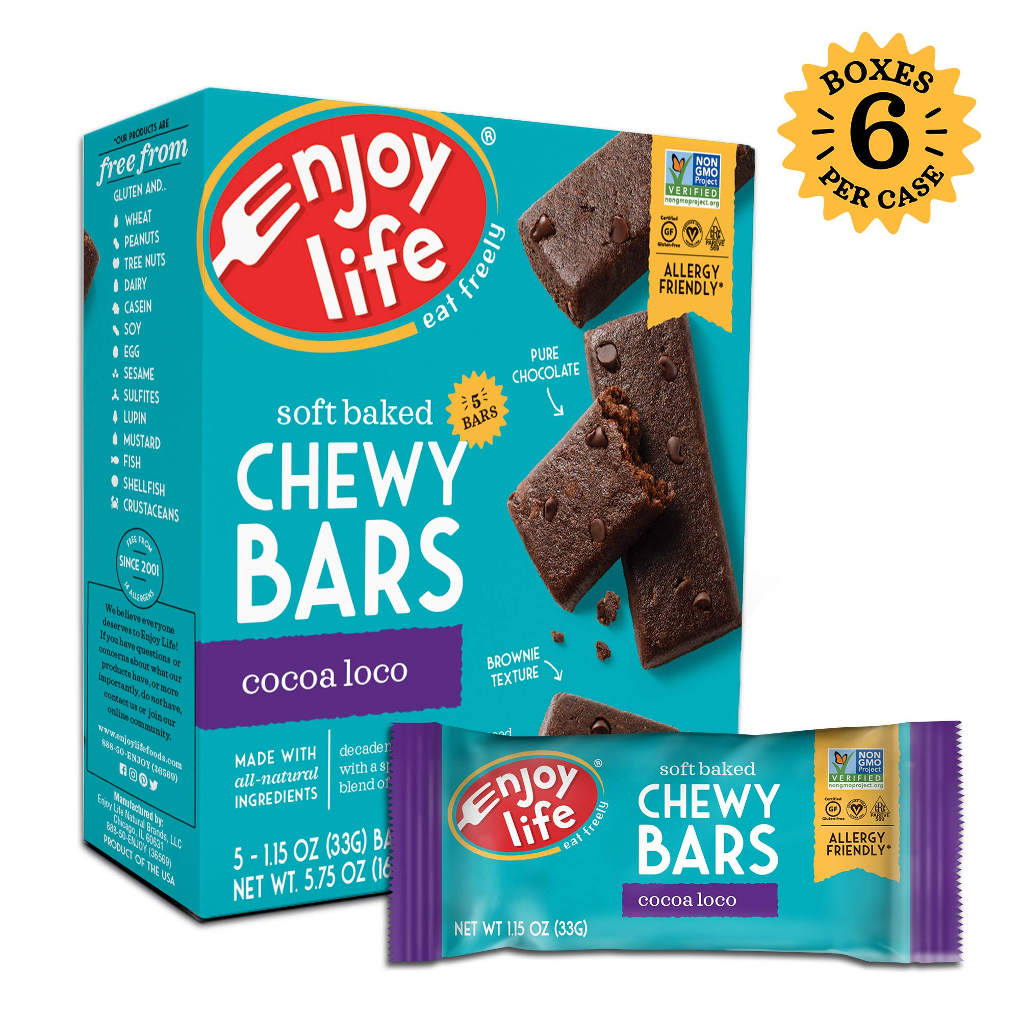 Enjoy Life Chewy Bars, Soy free, Nut free, Gluten free, Dairy free, Non GMO, Vegan, Cocoa Loco, 5 Count (Pack of 6) by Enjoy Life Foods