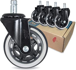 3 inch Chair Wheels Replacement Casters for Hardwood Floors and Carpet, With Stronger Bracket, Set of 5, Heavy Duty Office Desk Chair Ball casters for Chairs to Replace, Universal fit (Black/Clear)