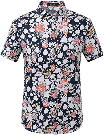 71582018e SSLR Men's Summer Floral Button Down Casual Short Sleeve Shirt (Small, Blue  Red 1