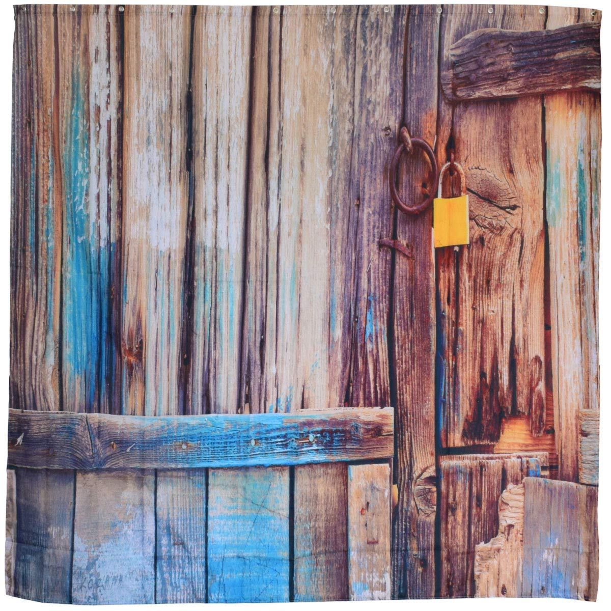 Rustic Vintage Fabric Shower Curtain,Old Brown Wooden Barn Door Decor Bath Curtain,Antique Country Rural Theme 3d Printing,Waterproof Polyester Bathroom Accessories Set with Hooks,72x72 Inch,Brown