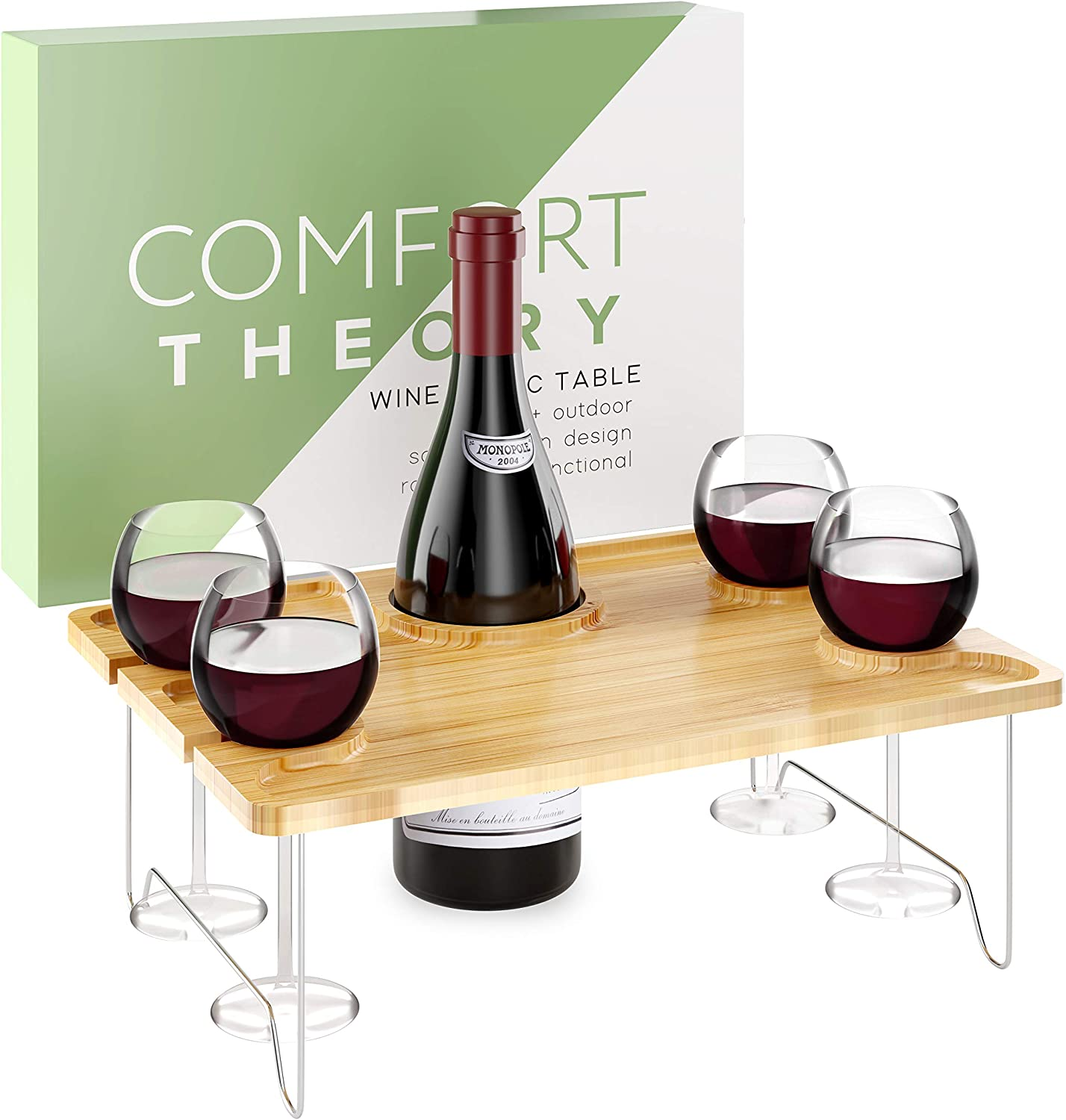 Comfort Theory Wine Picnic Table for Romantic Date Nights | Portable Table for Indoor & Outdoor Use | Bed Tray | Folding Table with Wine Glass and Hard Seltzer Can Holders | Cheese Board Serving Tray