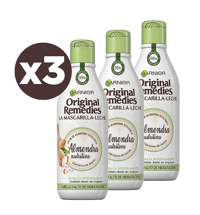 Garnier Original Remedies, La Mascarilla - Leche, Almendra Nutritiva para Pelo Falto de Hidratación - Pack de 3 x 250 ml