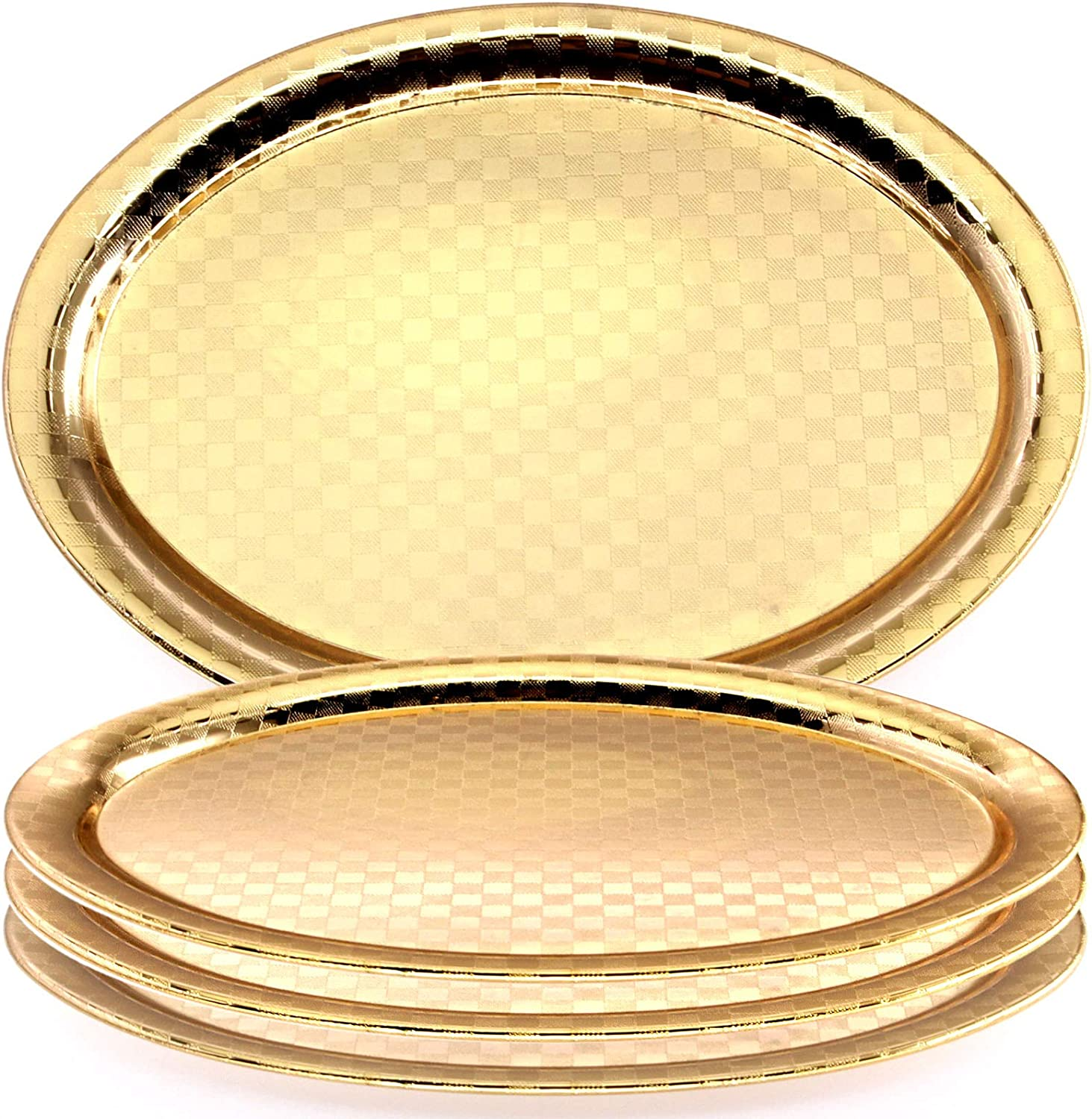 Maro Megastore (Pack of 4) 10.4 Inch x 7.6 Inch Oval Iron Gold Plated Serving Tray Bricks Square Edge Decorative Party Birthday Wedding Dessert Buffet Wine Candle Decor Platter Plate Dish CC-696