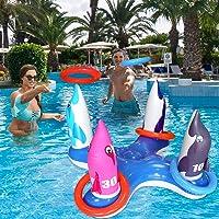 JOINBO Juguetes inflables del anillo de la piscina lanzar juegos,Juguete del juego de natación para niños adultos…