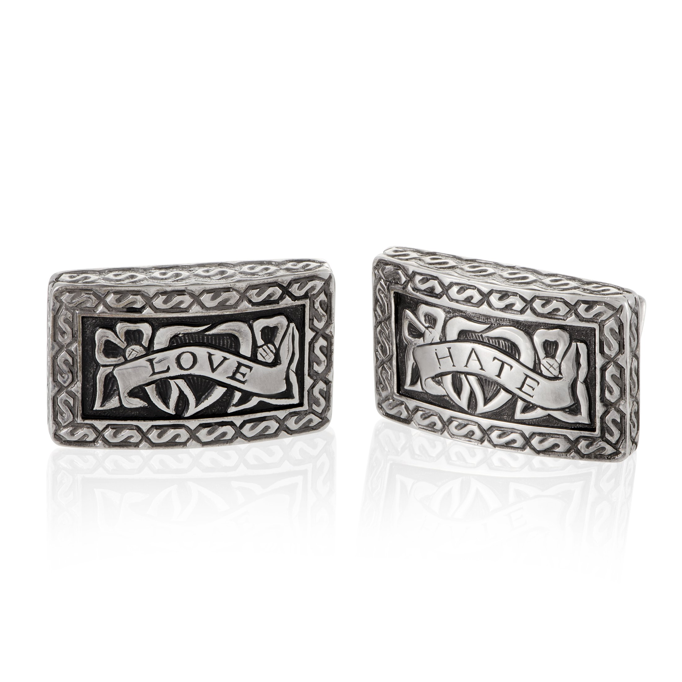 Stephen Webster Love and Hate Mens Silver Cufflinks