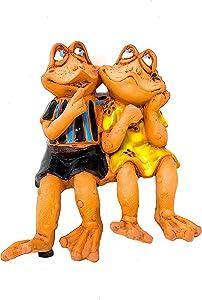 "Frog Figurines Collectible Statues Indoor Outdoor Garden Decor Shelf Pot Table Sitters Boy & Girl Clay 6"" x 5.5"""