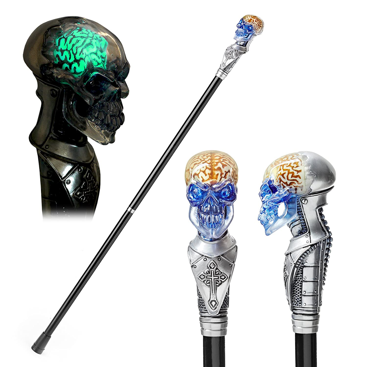 GC-Artis Skull Walking Stick Cane Glowing Silver Color Knob Handle Steampunk Halloween Party Black Wooden Shaft Folding 36''