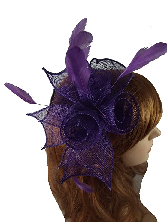 a1af2035 Occasion Wedding Races Purple Rose Comb Fascinator with Feathers Fascinators  & Headpieces