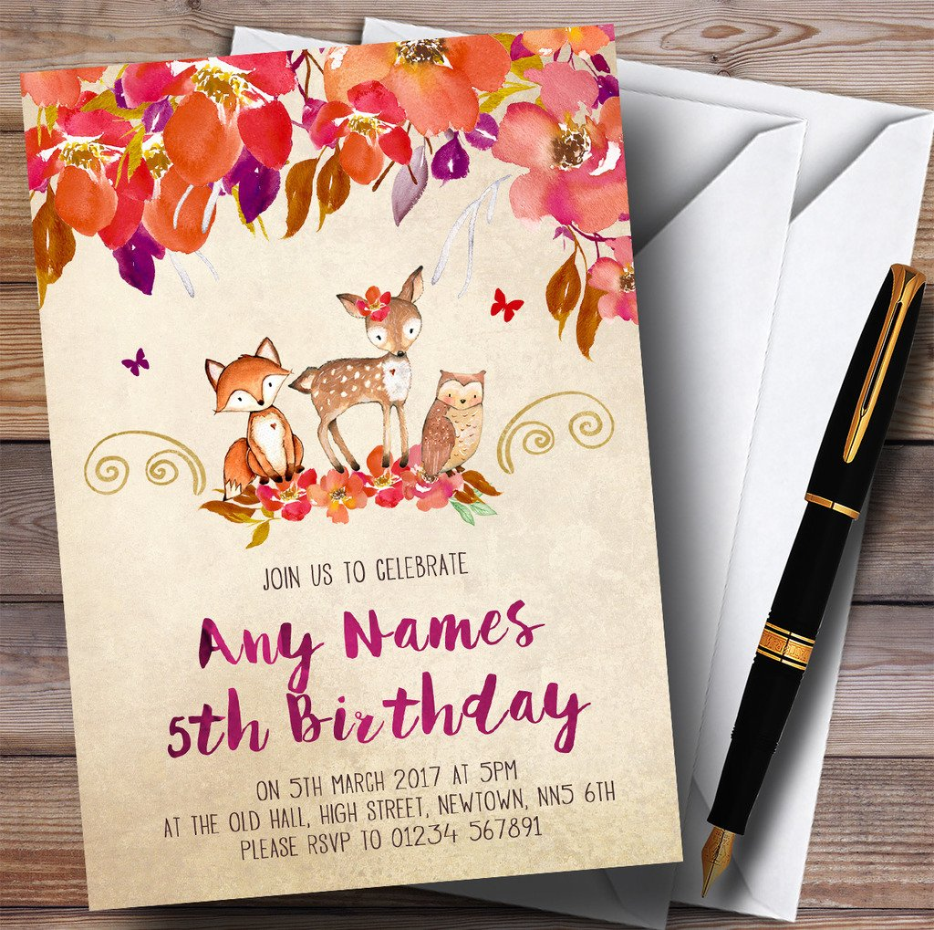 Bright Floral Woodland Forest Animals Fox Childrens Birthday Party Invitations