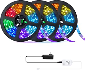 49.2ft LED Strip Lights, OxyLED Music Sync Color Changing LED Lights for Bedroom with 20-Key RF Remote and Control Box, 5050 RGB LED Lights for Party, Decor, Celling, Valentine's Day (3 X 16.4ft)