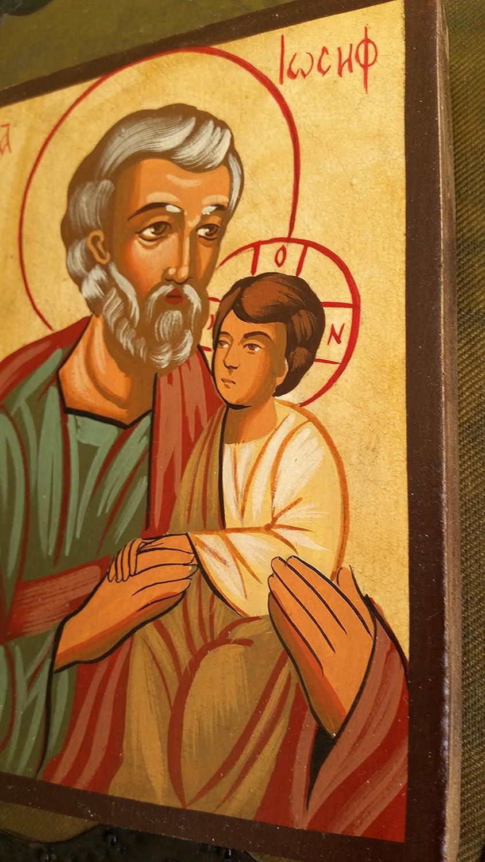 peinte /à la main cadeau Ic/ône Saint Joseph P/ère et fils J/ésus Christ Tempera peintes sur bois v/éritable